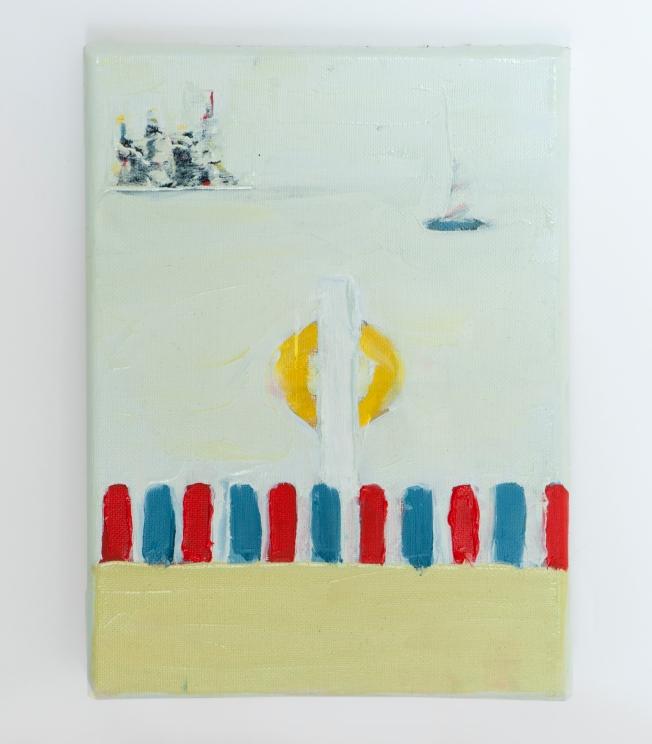 "Oil on canvas, 7"" x 9.5"""